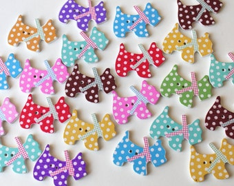 10 Scotty Dog buttons/ Dog wooden embellishments/ Doggy Crafts/ Cute wooden jewellery supplies