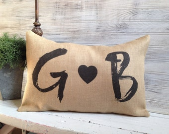 INITIAL COUPLE PILLOW,Insert Included,Decorating In Style