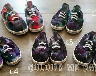 Galaxy cosmic nebula kids toddler canvas shoes