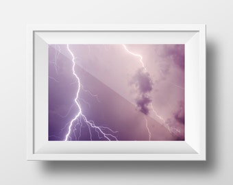 Crying Lightning / Lightning Bolt / Strike / Thunder / Storm / Weather / Cloud / Wallart / Nature