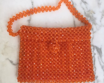 1960s Orange Lucite Beaded Handbag