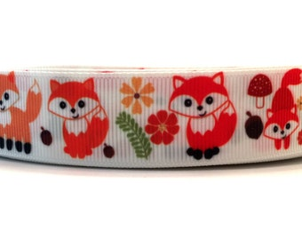 Fox ribbon, Fox grosgrain, Animal ribbon, Animal grosgrain, Orange fox ribbon, grosgrain ribbon, forrest friends ribbon, woodland ribbon