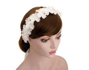 Bridal Flower Circle Headpice,Wedding Lace Headband,Head Wreath,Tiara Hair Crown,Prom Headband,Ribbon Tie Back Headband-WH10R150