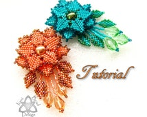 PDF Tutorial Faerie Flower Pendant. Peyote Stitch Flower Pendant. Pattern, Instructions