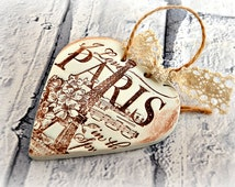 Paris ornament, Eiffel tower decor, I love Paris bedroom decor, French chic hanging heart decoration, Shabby chic, Rustic, Paris springtime