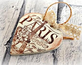 Paris ornament, Eiffel tower decor, I love Paris bedroom decor, French chic hanging heart decoration, Shabby chic, Rustic, Paris springtime