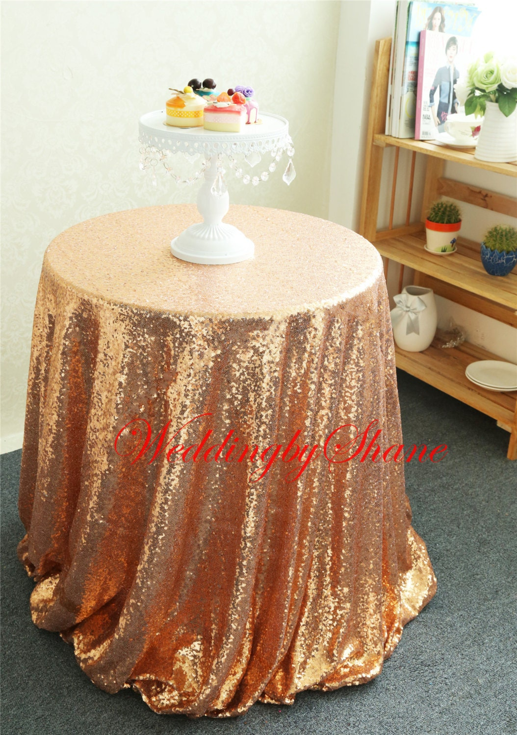 132 Round Rose Gold Round tablecloth Sparkly by WeddingbyShane