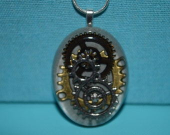Steampunk Gears and Cogs Necklace, Resin Jewelry