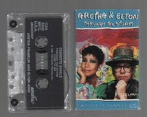 Vintage Cassette Tape : Cassette Single - Aretha Franklin & Elton John - Through The Storm / Come To Me CAS-9809