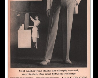 "Vintage Print Ad May 1957 : Dacron Wash N Wear Slacks Du Pont Clothing Fashion Wall Art Decor 10.25"" x 13.75"" Advertisement"