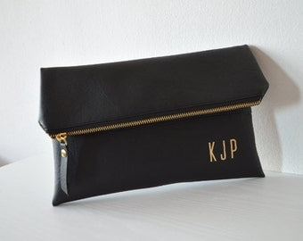 Black Clutch with Gold Monogram / Personalized Clutch Bag / Wedding Clutch Purse / Evening Clutch Bag