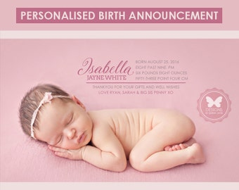Birth Announcement, Custom Printable Birth Announcement, Girl Birth Announcement, Pink Birth Announcement, Baby Girl, Girl Birth