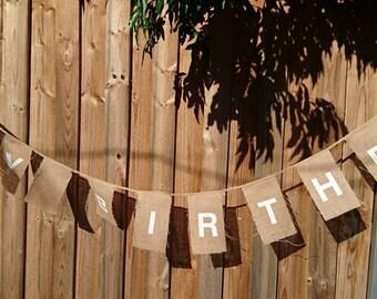 Happy Birthday Burlap Bunting Banner.  Hessian Bunting.  Burlap Flag Banner.