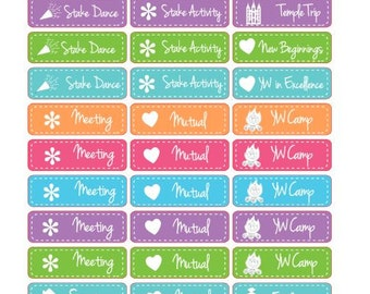 LDS Young Women Set, YW Planner stickers