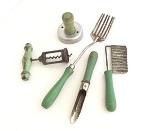 Vintage Green Handled Kitchen Utensils