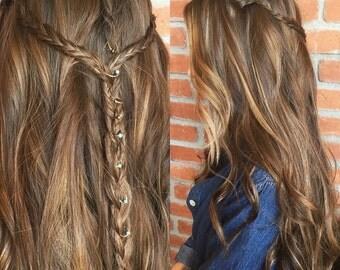 Handmade Beaded Gold/Silver Hair Rings