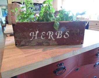 Red Reclaimed Barnwood Herb Planter Box