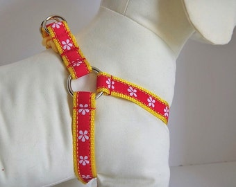 Step-in Dog Harness -Dog Harness with Flowers - Pink Dog Harness and Leash - Girl Dog Harness - Pretty Dog Harness - Dog Collar Alternative