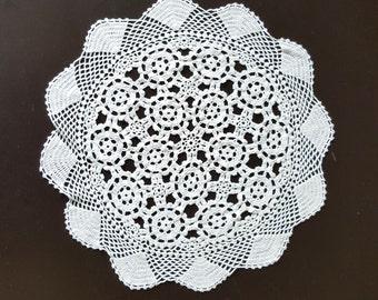 Vintage, Handmade ,Crochet Lace Doily,Crochet Lace Napkin, Lace Doily, Vintage Decor,Vintage doily, round, white , diameter 360 mm