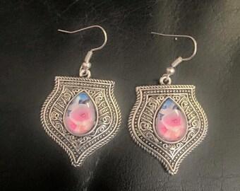 Pink flower silver dangly earrings