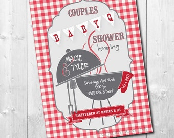 BABY-Q Couples Shower Invitation /DIGITAL FILE or printing/ wording can be changed