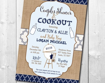 Couples Baby Shower Invitation printable/boy, fall, navy, blue, burlap, rustic, cookout, baby q/digital file/wording can be changed