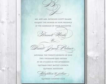 Elegant Wedding Invitation with Watercolor background & gray ink /calligraphy font / DIGITAL FILE / printable / wording can be changed