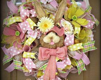 Easter Deco Mesh Wreath, Easter Mesh Wreath, Deco Mesh Wreath, Easter Bunny Wreath, Bunny Mesh Wreath, Mesh Wreath