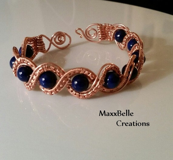 Twisted Copper Wire Weave Bracelet With Riverstone Beads