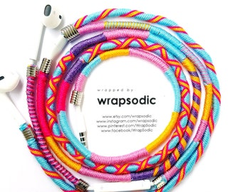 Wrapped Colorful Earbuds with mic Handwrapped Multicolor