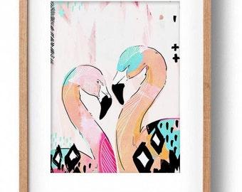 Okay Luna 'Flamingo's' Print A3