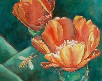 Orange Cactus Flowers and Bee Art Print/ Southwest Desert Limited Edition Giclee