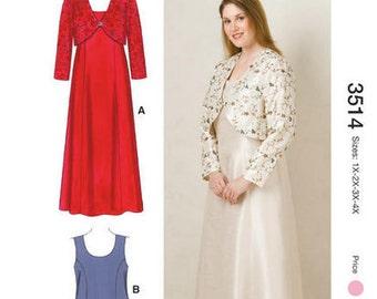 Kwik Sew PLUS SIZE sewing pattern K3514 Womens Princess Seam Dresses and Jacket, 2 Styles - new and uncut