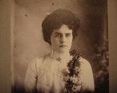 Antique 1890's Victorian Photograph, Cabinet Card of Young Woman in 19th Century Fashion, Floral Corsage, Victorian Photography Collectible~