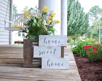 home sweet home wood sign. Farmhouse style, housewarming gift, welcome signs, home sign, rustic home decor, housewarming, going away gift.