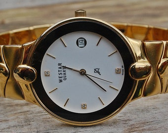 Westar Gold Plated Bracelet Gents Watch In Box-Bargain Offer!