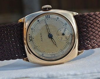 Aero 9ct Gold Gents Cushion Shaped Vintage Watch c1940's On Perlon Strap