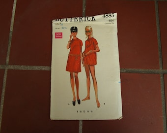 Butterick Pattern 4885 Go Go Dress Vintage 1960's Uncut Size 10 Sewing Craft Collectible - CRF014