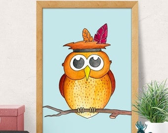 Owl print, Owl nursery print, Nursery wall art, Wildlife nursery, Animal nursery print, Watercolor Print, Watercolor Art, Nursery decor