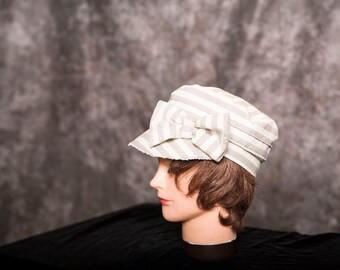 Woman's Cream and Beige Striped Cap