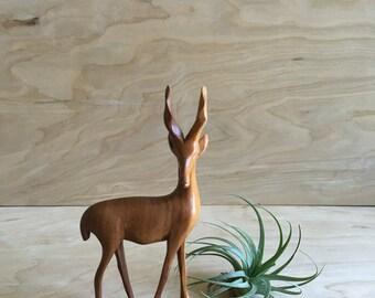 1970s Wooden Stag, carved wood deer, animal figurine, primitive, African art, made in Kenya, wood figurine, Stag, wood sculpture, Decor