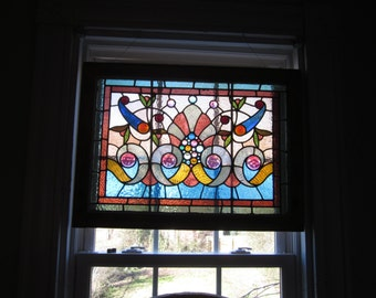 Antique Victorian Stained Glass Window, 38 jewels of all sizes