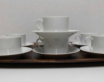 Modern, White Cups & Saucers, Vintage  - Set of 9 cups, 8 saucers