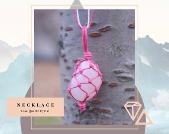 Rose Quartz - Cystal Wrap Hemp Necklace