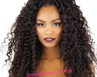7A Brazilian Glueless full lace wig and lace front wigs human hair  kinky curly lace wigs virgin hair For Black Women Free Shipping