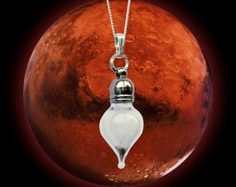 REAL Mars Dust Meteorite Space Necklace - Tear - Sterling Silver