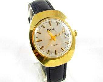 Poljot  mens wrist watch AU20 gold plated 17 jewels Calendar Original RARE USSR great condition Serviced