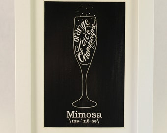 Mimosa | Mixed Drink Art | Mimosa Recipe Print | Home Bar Art | chelle belle insipred