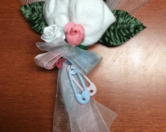 Baby Shower Sock Corsage - White