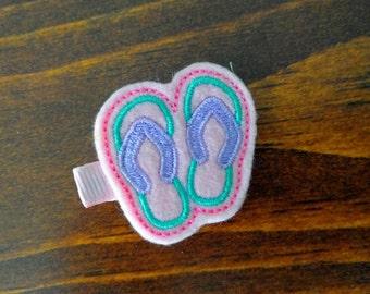 Pink Flip Flops Hair Clip Felt Sandals Hair Clip